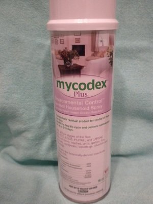 Mycodex Environmental Spray for homes kills adult fleas, larvae and eggs.