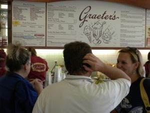 No visit to Louisville is complete without a trip to Graeter's.  Granny, Jeremy and Regina try to decide what to eat.