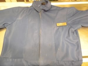 Deep Navy blue, this was my first-ever examination room jacket.