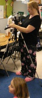 Mrs. Lipski, looking dapper in her ninja-black and pink PJs.