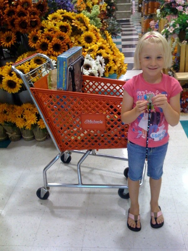 Sara Riley in her favorite activity:  shopping for art supplies!