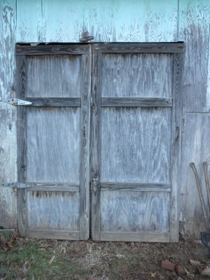 """Uncle Sam wanted new doors for the """"smokehouse,"""" but he didn't want me using so many screws."""