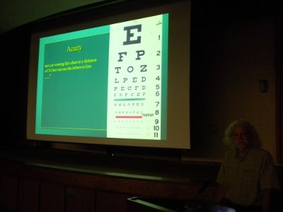 No, Dr. Brooks is not advocating the use of a human eye chart for checking visual acuity.